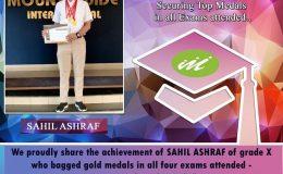 Great achievement of SAHIL ASHRAF of grade X in International Olympiad Talent Exam 2019-20