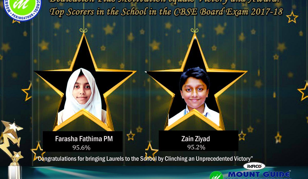 Top Scorers in the School in CBSE Board Examination 2017-18